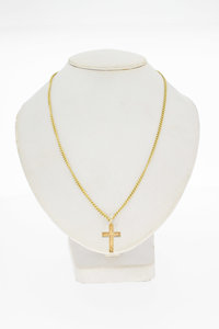 14 Karaat geel gouden - Kruis - kettinghanger