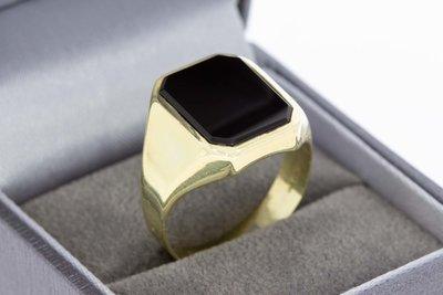 14 Karaat geel gouden Zegelring (8- hoeken) met Onyx