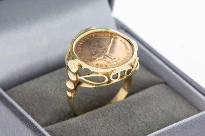 14 Karaat geel gouden ring gezet met een Penning