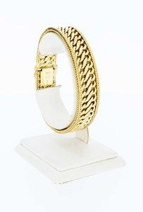 14 Karaat gouden gevlochten schakelarmband - 19,5 cm