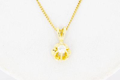 14 Karaat gouden Kettinghanger met Diamant - 0.06 crt
