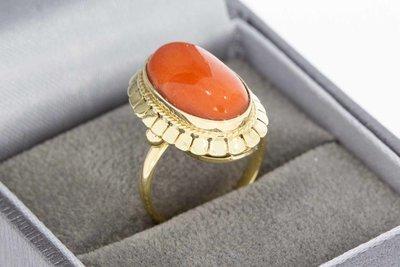14 Karaat geel gouden Markies ring met bloedkoraal