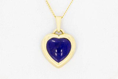 14 Karaat gouden Kettinghanger met Lapis Lazuli - Hartje