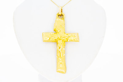 18 Karaat geel gouden Kruis Kettinghanger - 22,33 gram