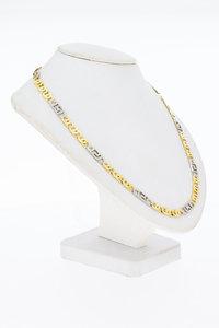 14 Karaat bicolor gouden Valkoog schakelketting - 65,5 cm