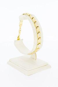 14 Karaat bicolor gouden Fantasie schakelarmband - 19 cm