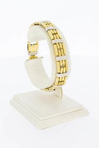 18 Karaat bicolor gouden Staafjes schakelarmband - 18,9 cm
