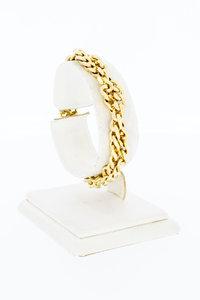 14 Karaat gouden duo Gourmet schakelarmband - 18,6 cm