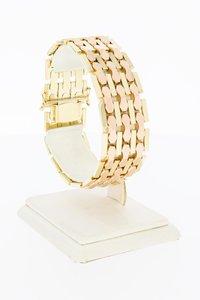14 Karaat bicolor gouden Staafjes schakel armband- 19 cm