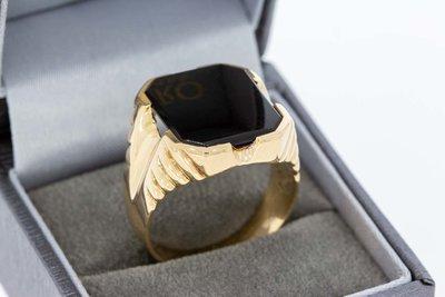 14 Karaat gouden Zegelring ring met bewerkte schouders