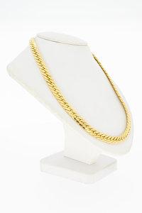 18 Karaat gouden gewalste Gourmet schakel Collier - 46 cm