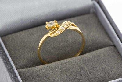 19 Karaat gouden Fantasie ring gezet met Saffier (16,8 mm)