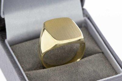 14 Karaat gouden Zegelring (geborsteld)- ringmaat 19,1 mm