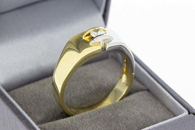 18 Karaat gouden Statement ring met Diamant (0.21 crt)