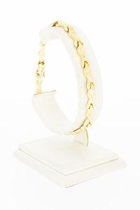 14 Karaat geel gouden Fantasie schakel armband - 20,5 cm