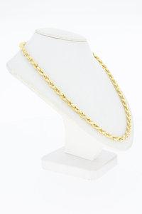 18 Karaat bicolor gouden gevlochten Koord ketting- 51,2 cm