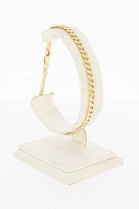 14 Karaat gouden gewalste Gourmet schakel armband - 21 cm