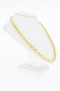18 Karaat gouden gevlochten Koord schakelketting- 67 cm