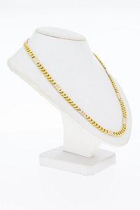 14 Karaat bicolor gouden gewalste Gourmet Collier -45,5 cm