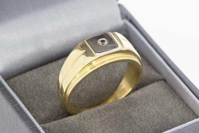 14 Karaat bicolor gouden ring gezet met solitaire Zirkonia