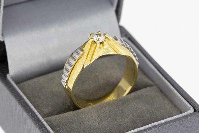 14 Karaat bicolor gouden Statement ring met Zirkonia - 20 mm