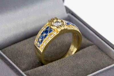 18 Karaat geel gouden ring gezet met Diamant - 17,6 mm