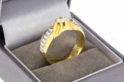 14 karaat gouden Statement ring met  Zirkonia - 19,9 mm
