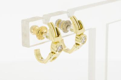 14 Karaat gouden oorstekers met briljant geslepen Diamant