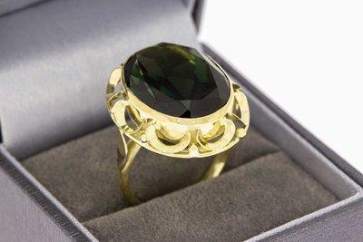 14 Karaat gouden Retro ring met Rookkwarts - 18,2 mm