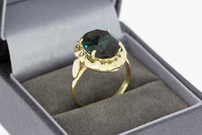 14 Karaat gouden Vintage ring met Granaat - 18,3 mm