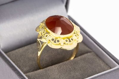 14 Karaat gouden Retro ring met Carneool - 19,9 mm