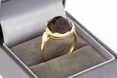 14 Karaat gouden Retro ring met Granaat - 19,2 mm