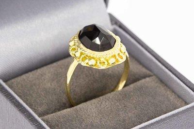 14 Karaat gouden Retro ring met Granaat - 18,7 mm
