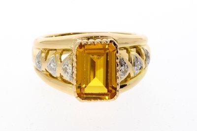 18 Karaat gouden Markies Ring met Citrien en Diamant-18,9