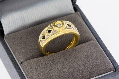18 Karaat geelgouden Bandring gezet met Saffier & Diamant
