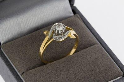 18 karaat geel gouden Slagring met Diamant - 17,9 mm