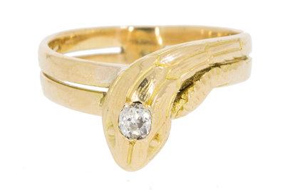 18 Karaat gouden Slangenring gezet met Diamant- 16,8 mm