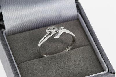 18 Karaat witgouden Slagring gezet met Diamant - 17,5 mm