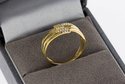 18 karaat geel gouden Slag ring met Diamant - 17,3 mm