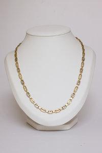 14 Karaat14 Karaat bicolor gouden Konings- schakelketting - 62 cm bicolor gouden Koningsketting - 62 cm