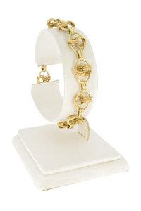 14 Karaat geel gouden schakel armband - 18,5 cm