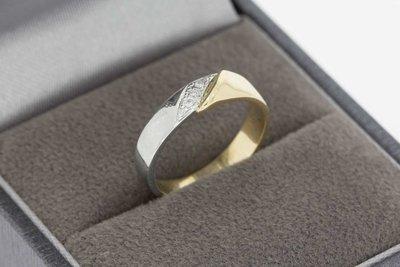 14 Karaat bicolor gouden Fantasie Pinkring (ringmaat 15,3)