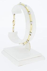 18 Karaat bicolor gouden Tennis armband met Diamant-19 cm