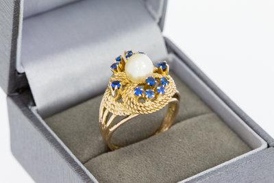 18 Karaat Gouden Markies Ring gezet met Parel en Saffier