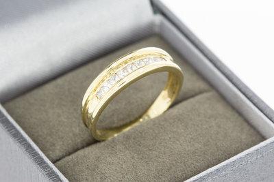 14 karaat geel gouden Bandring met Zirkonia - 18,9 mm