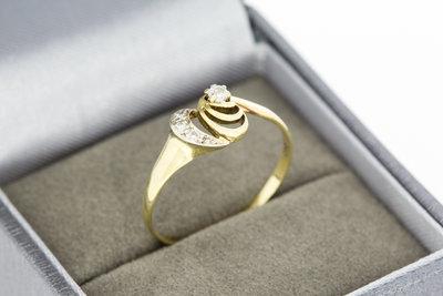 14 Karaat bicolor gouden ring gezet met Diamant - 19,1