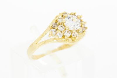 14 Karaat geelgouden Markies ring gezet met Zirkonia