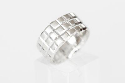 "14 karaat witgouden brede ring ""ICE Cube"" - 17,3 mm"