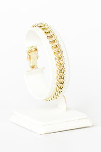 14 Karaat geel gouden gevlochten schakelarmband - 18,5 cm