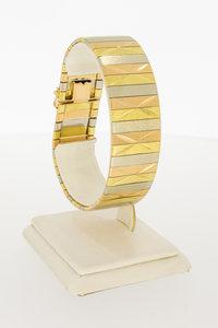 18 Karaat tricolor gouden brede plaatjes armband - 19,5 cm
